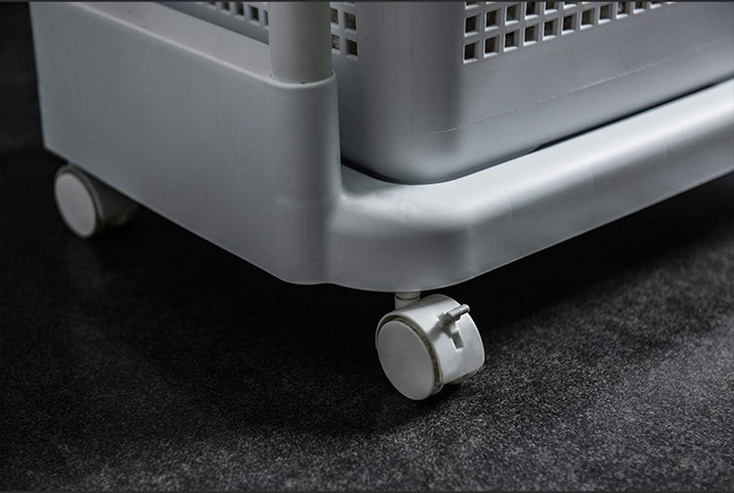 Nordic Accueil Panier /à Linge Multifonctionnel Mobile /étag/ère de Rangement,3 Tier Porte-Bagages /à roulettes Stockage Permanent ZQH Salle de Bains Rangement Panier