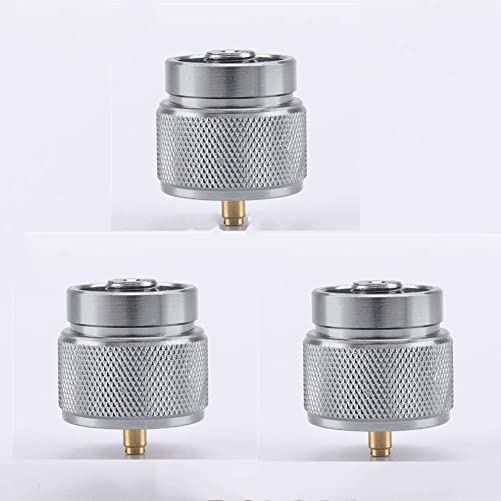 ZKZX 3 Pieces Camping Stove Adapter 1LB Propane Small Tank Input and a Lindal Valve EN417 Output Outdoor Cylinder LPG Canister Adapter