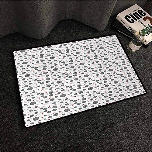 DILITECK Interior Door mat Bowling Realistic Graphic Game Icons Scattered on Plain Backdrop Competition and Fun Easy to Clean W35 xL47 Grey White Red]()