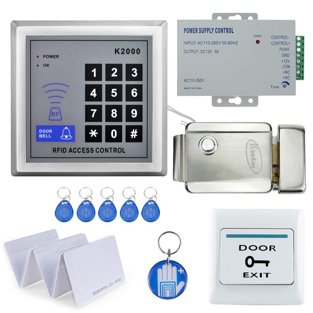 OBO HANDS Full Set Kit de Sistema de Control de Acceso RFID con Bloqueo Magnético Eléctrico Multifuncional + Fuente de Alimentación + Botón de Salida + 10 Leychains (Bloqueo Electrónico)