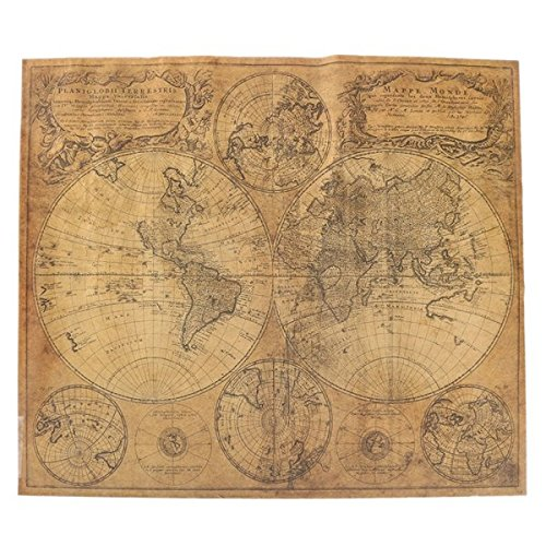 etro Large World Map Vintage Antique Style Brown Paper Poster Wall Chart ()