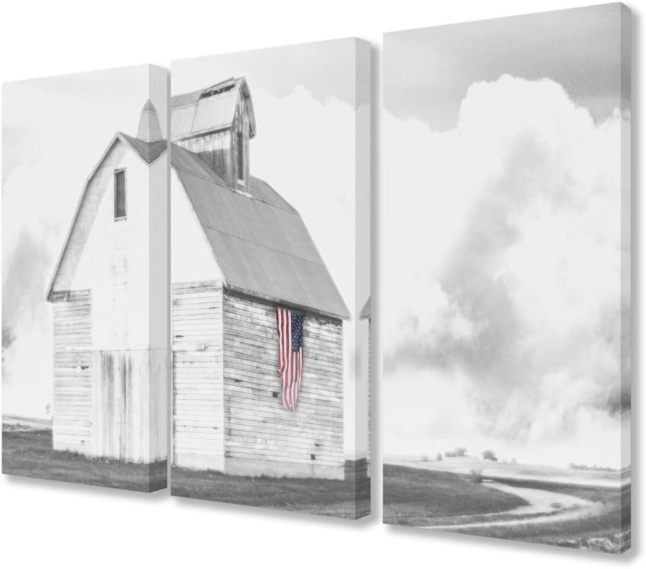 Stupell Industries White Barn with American Flag Black and Grey Canvas Wall Art, 3pc Each 16 x 24, Multi-Color