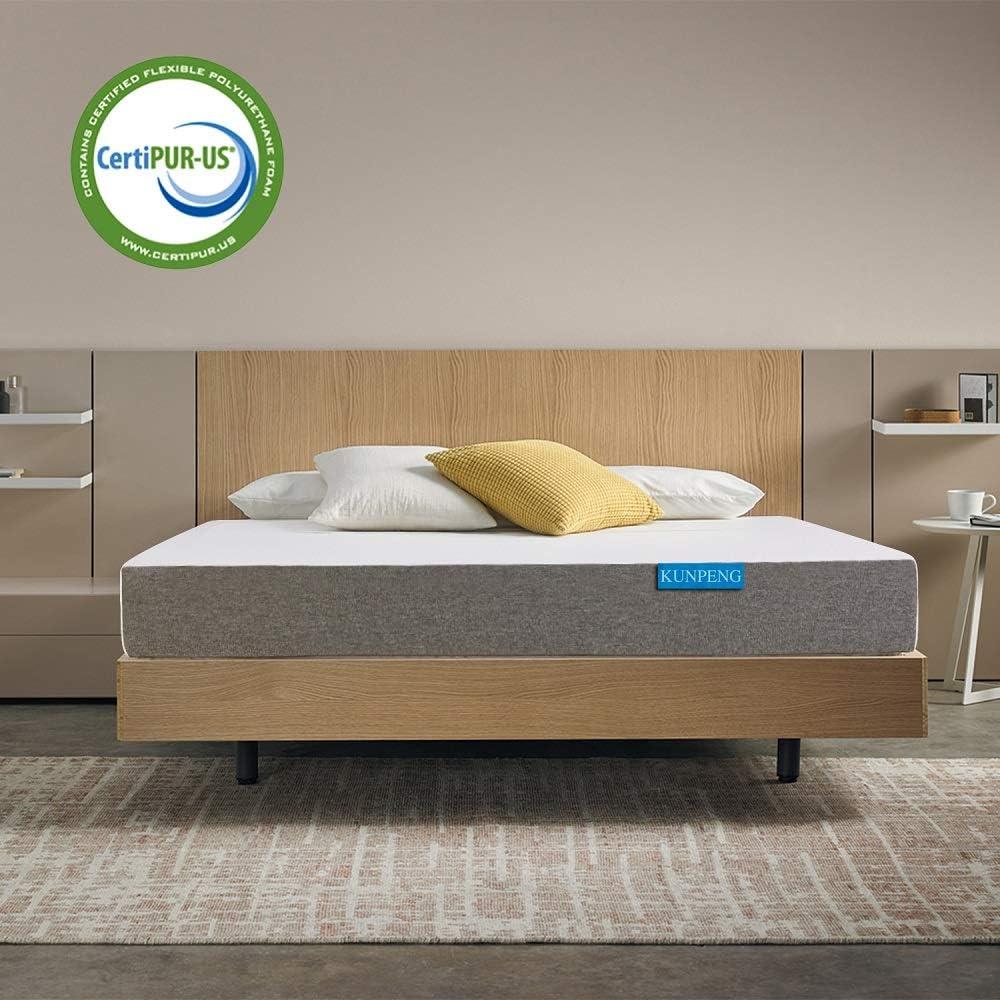 KUNPENG Queen Mattress, Cooling Gel Memory Foam Mattress 10 Inch, Bed Mattress in a Box Medium Firm CertiPUR-US, Relieve Stress