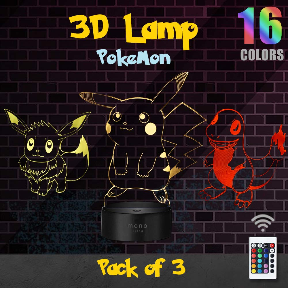 mono living 3D Night Light Pokemon Illusion Night Nursery Light for Kids, USB Decor Lamp Three Pattern, 16 Color Change 3D Lamp Light for Kids Pikachu Charmander Eevee pokemon detective Fans , 3 Packs