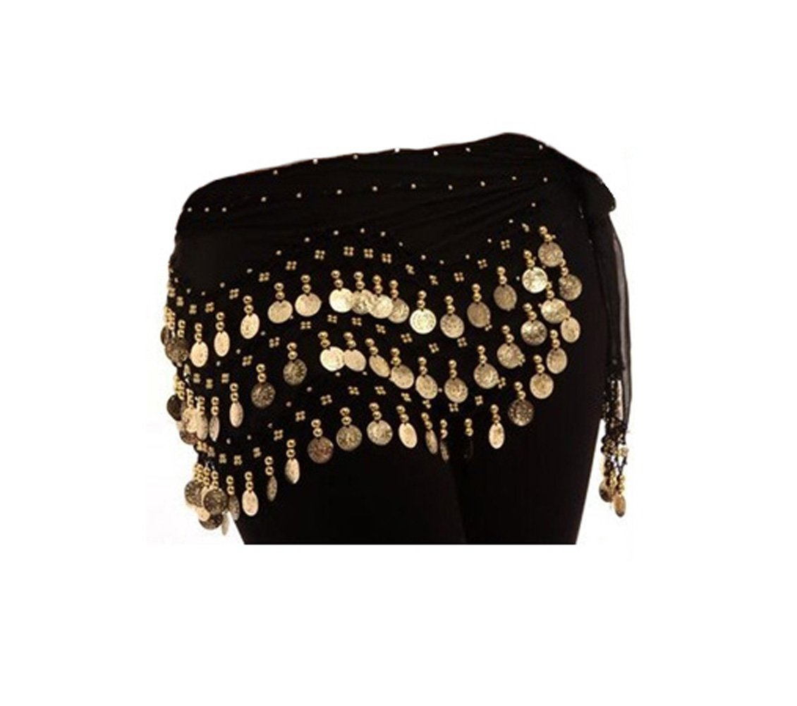 One Size Fit All - Black Gold Coins Belly Dance Skirt WITHOUT Bracelet/Cuff