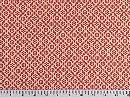 Geo Red 180x44 inches Boundless Posy Meadow Traditional Floral 5-Yard Fabric Cut