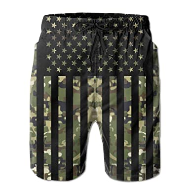 5275a94836d9d Image Unavailable. Image not available for. Color: Ding American Flag  Camouflage USA Flag Patriotic Men's Quick Dry Beach Shorts Swimwear Swim  Trunks Board