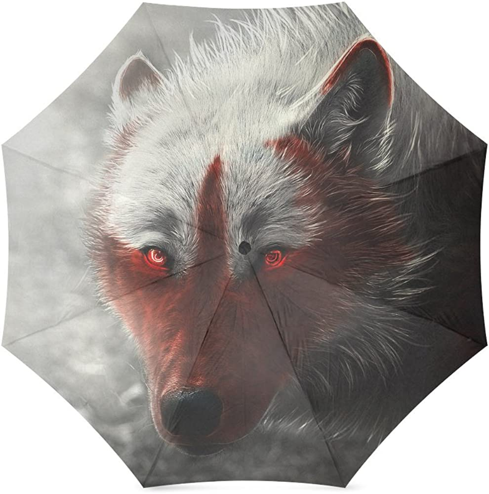 Folding Umbrella Rainproof /& Windprrof Umbrella wolf Custom Umbrella Automatic