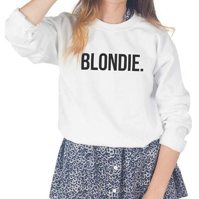 ZFFde Sudaderas BLONDIE. Camiseta estampada con cuello redondo y manga larga Streetwear sudadera suelta para