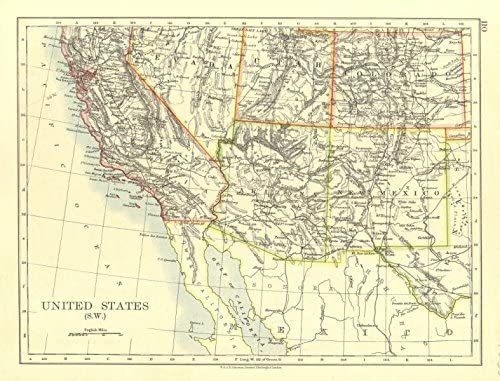 Usa South West California Arizona Nm Colorado Utah Nevada Johnston 1906 Mapa Antiguo Vintage Mapas Impresos De Estados Unidos Amazon Es Hogar