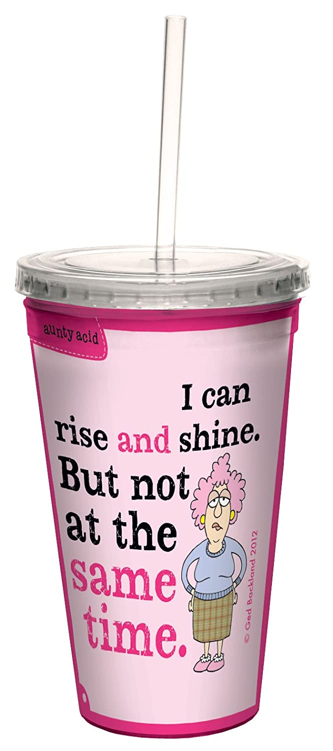 Tree-Free Greetings cc33760 Hilarious Aunty Acid Double-Walled Cool Cup with Reusable Straw, Rise and Shine, 16-Ounce