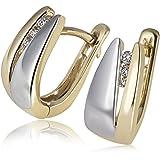 Goldmaid - Pa O5230BI - Boucles d'Oreilles Créoles Femme - Or bicolore 585/1000 (14 carats) 2.0 gr - Diamant