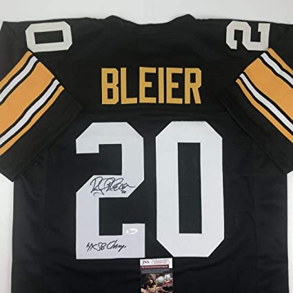 Autographed/Signed Rocky Bleier 4x SB Champ Pittsburgh Black Football Jersey JSA COA