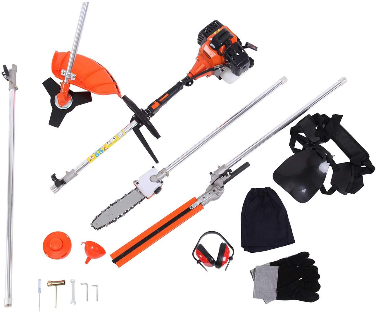 Vigenu 5 Functional in 1 Hedge Trimmer 52cc Petrol Engine Chainsaw Cutter Pole Saw Brush Outdoor Tools