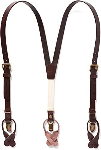 Classic Y Suspenders for Boys /& Toddlers JJ SUSPENDERS Genuine Leather Suspenders For Kids with Elastic Strap