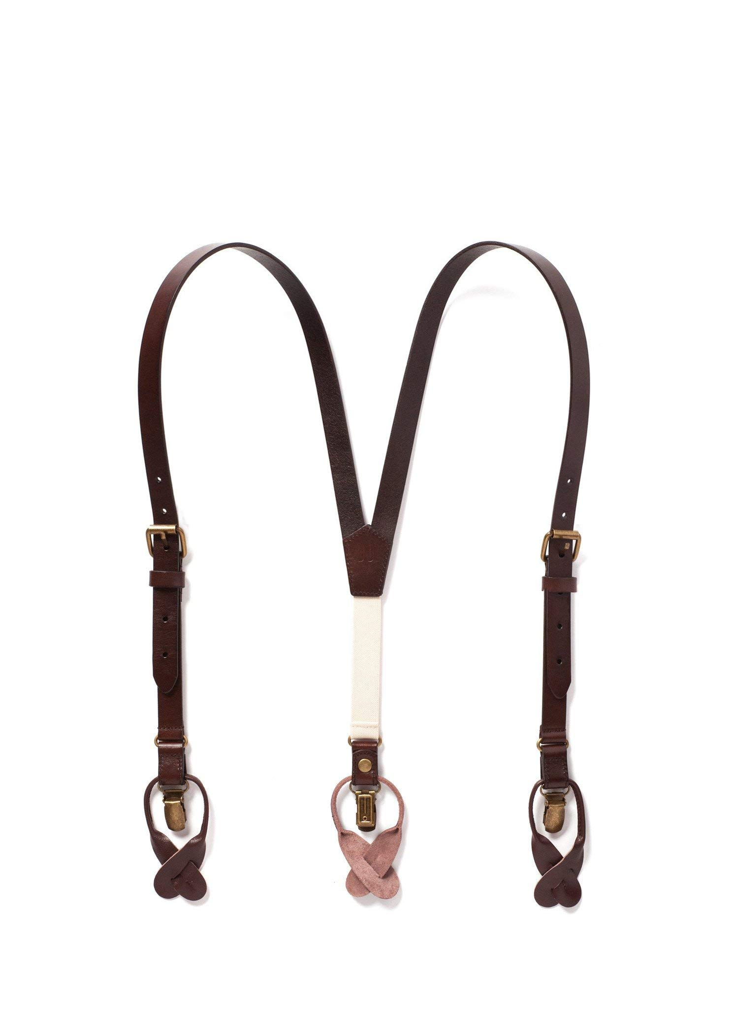 JJ SUSPENDERS Genuine Leather Suspenders For Kids with Elastic Strap - Classic Y Suspenders for Boys & Toddlers (Chestnut Java - Brown)