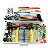 HJ Garden Electronic Component Assorted Kit for Arduino, Raspberry Pi, STM32 etc. 830 Breadboard + Jumper + Power Module + Resistor + Capacitor + LED + Switch (Pack of 458pcs)