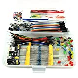 HJ Garden Electronic Component Assorted Kit for Arduino, Raspberry Pi, STM32 etc. 830 Breadboard + Jumper + Power Module + Resistor + Capacitor + LED + Switch ( Pack of 458pcs )