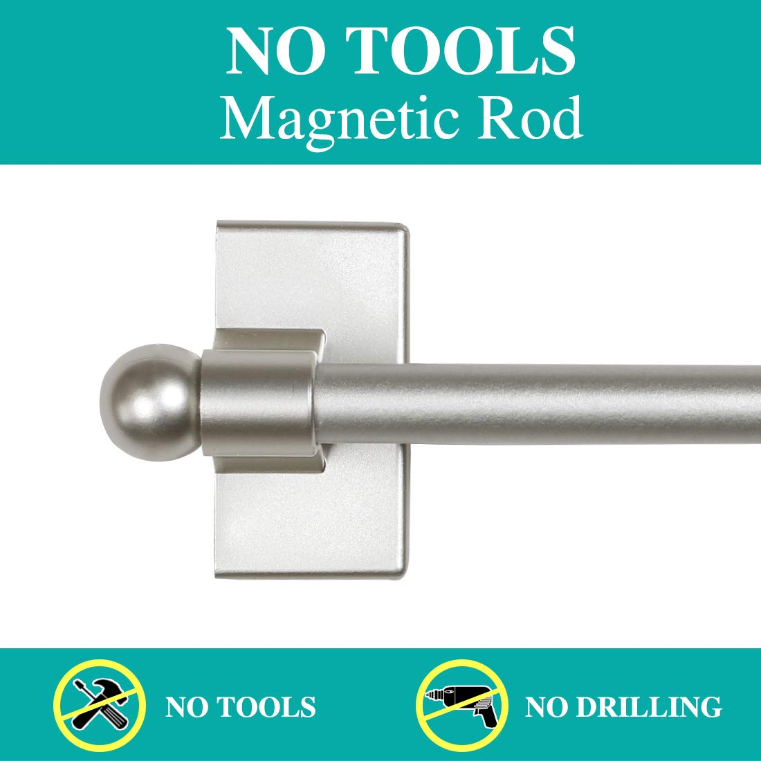 Turquoize 5//8 Multi-Use Versatile Adjustable Appliance Magnetic Rod Extends from 16 inch to 28 inch Magnetic Cafe Curtain Rod Nickel 2 Park