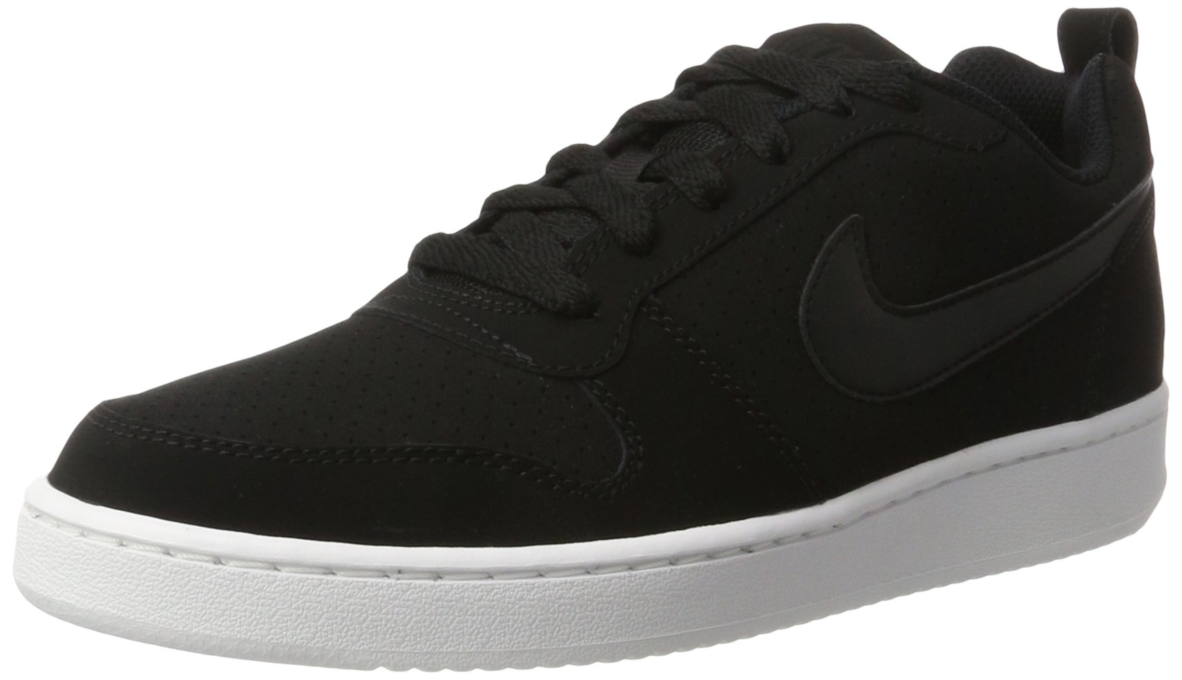 NIKE Women's Court Borough Low Sneaker, Black/Black/White, 9.5 B(M) US