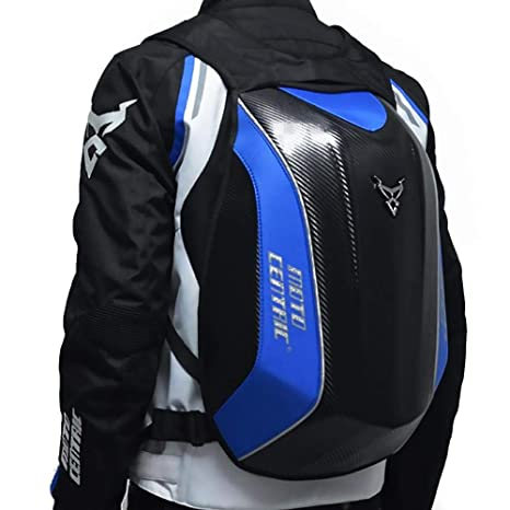Bulary Carbon Fiber Motorcycle Backpack Riding Bag MC Backpack Rider Motorcycle Waterproof Hard Shell Kawasaki Turtle Bag