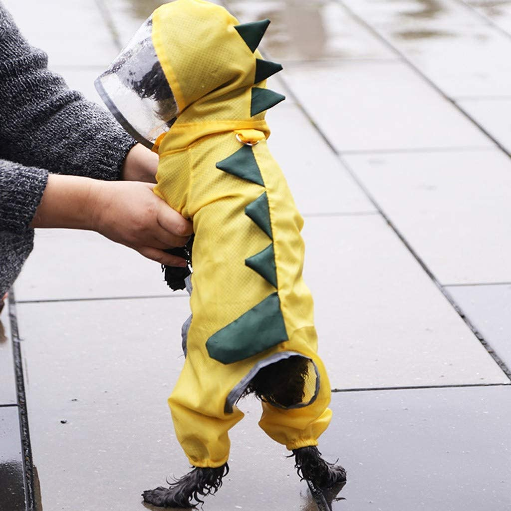 Leewos Cute Dog Costumes Waterproof Dog Raincoat with Hood Dinosaur Rain Coat for Pet Supplies