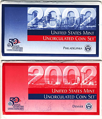 - 2002 P&D US Mint Uncirculated Coin Mint Set Sealed Unicirculated