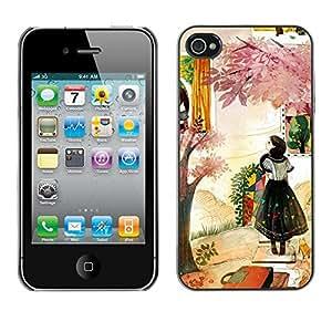 TopCaseStore / la caja del caucho duro de la cubierta de protección de la piel - Woman Fashion Abstract Painting - Apple iPhone 4 / 4S