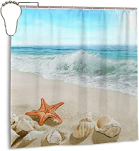 COLLA Starfish Beach Tropical Sea Waves Seashell Ocean View Bath Shower Curtain Durable Polyester Fabric Waterproof with 12 Hooks 72x72 Inch for Bathroom Home Decor