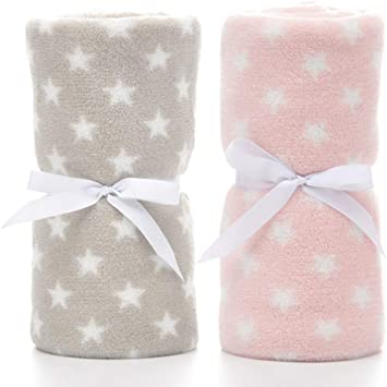Brown Star /& Pink Star 30 PRIMA 2 Pack Baby Swaddle Blankets Super Soft Cozy Receiving Flannel Toddler Blankets for Boys and Girls Gifts for Newborn 40 inch