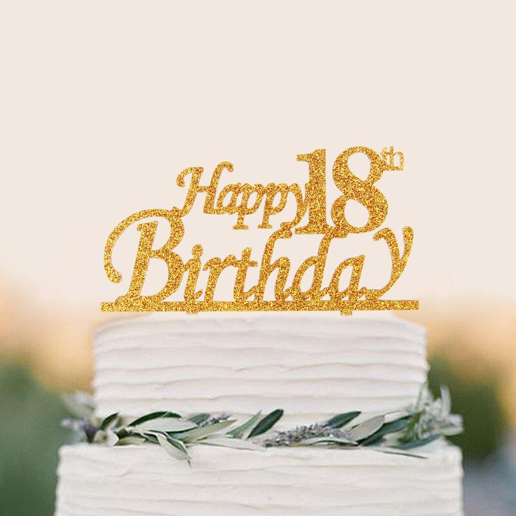 Amazon.com: Happy 18th Birthday Cake Topper - 18 Happy Birthday ...