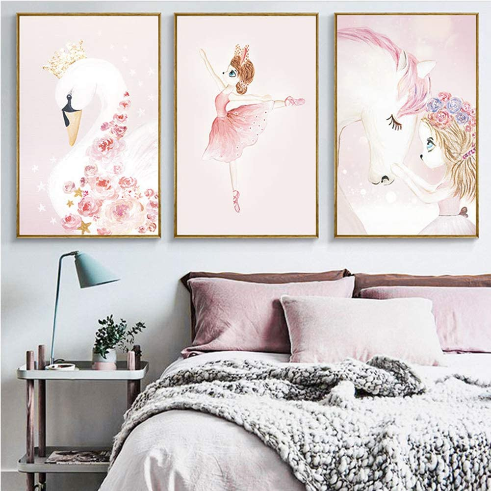 SpirWoRchlan Lot de 3 Posters pour Chambre denfant sans Cadre Photo pour Chambre denfant Motif Fille 21 x 30cm Cygne Licorne Papier Brillant Caricature Fille