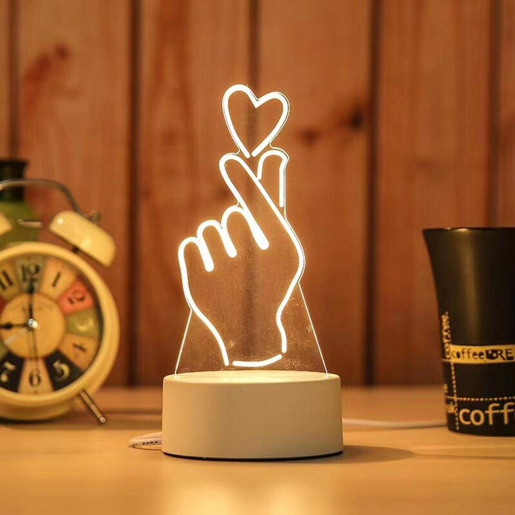 Jingjing1 3D Illusion LED Night Light,3 Colors Gradual Changing Table Lamp for Holiday Gifts or Home Decorations