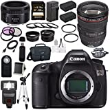 Canon EOS 5DS 5D S DSLR Camera + EF 24-105mm f/4L IS USM Lens + Canon EF 50mm f/1.8 STM Lens + LPE-6 Lithium Ion Battery + External Rapid Charger + Canon 100ES EOS shoulder bag Bundle 7