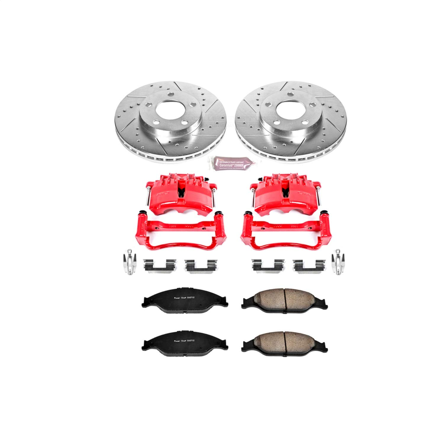 Power Stop KC1301A 1-Click Performance Brake Kit with Caliper, Front Only by POWERSTOP