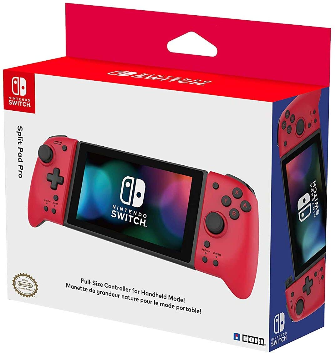 Hori Nintendo Switch Split Pad Pro (Red) Ergonomic Controller for Handheld Mode - Officially Licensed By Nintendo - Nintendo Switch