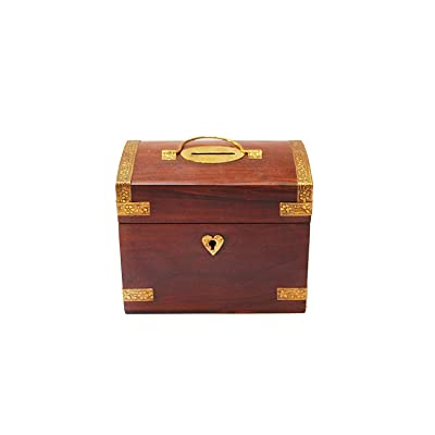 S'vaav's Handicrafted Wooden Treasure Chest Design Money Bank/ Coin Saving Box /Piggy Bank (Brown , 5.25x3.25x4.25 Inches): Toys & Games