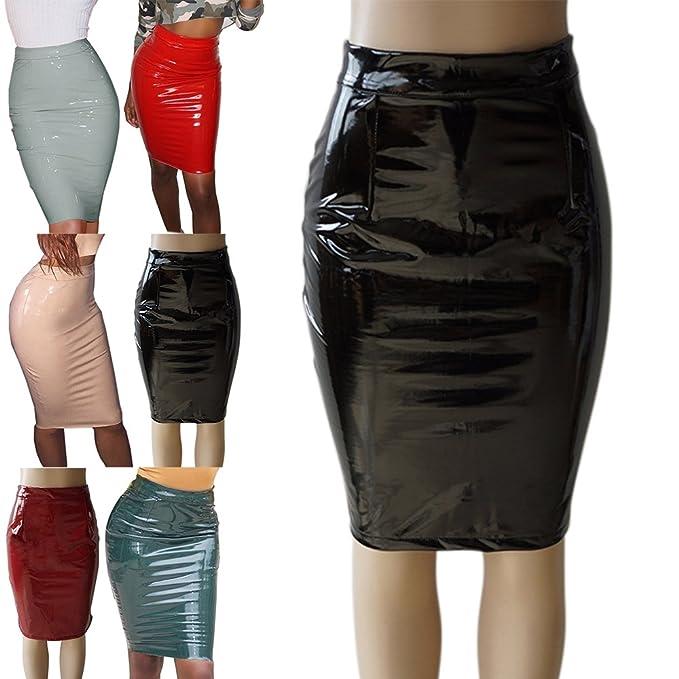 463eb9531 Faldas Mujer Talle Alto de Cuero Fiesta Estilo Elegantes Atractivo ...