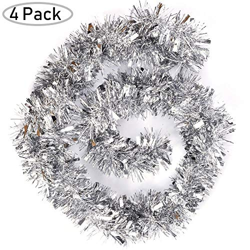 Woooow 24ft Christmas Tinsel Garland,4Pcs x 6.0ft Soft Christmas Garland Classic Shiny Sparkly Party Ornaments Hanging Xmas Christmas Tinsel Christmas Tree Ceiling Decorations,Unlit (Silver)