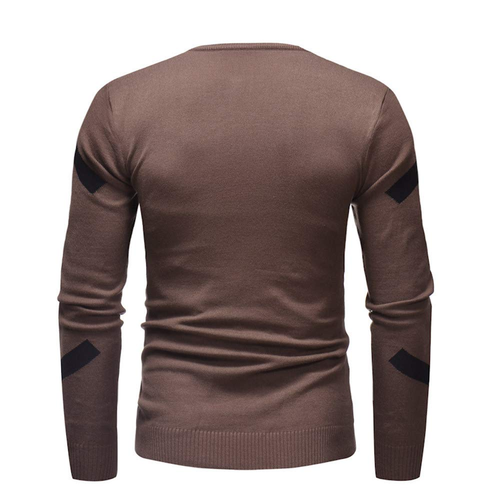 Zackate Mens Casual Knitted Sweater Solid Color Patchwork Pullover Slim Jumper Knitwear Outwear Blouse Tops