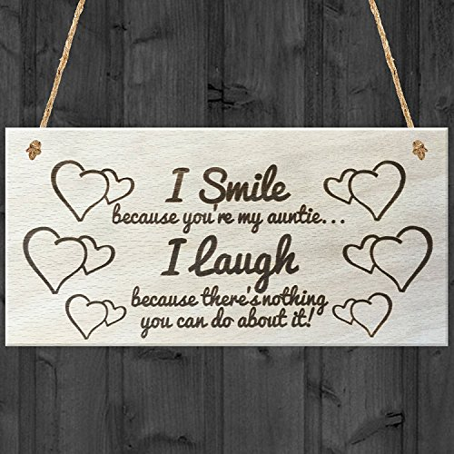 I Smile Because You're My Auntie I Laugh Wooden Plaque Gift Shabby Chic Sign Competing Marketplace - Marketplace Orlando