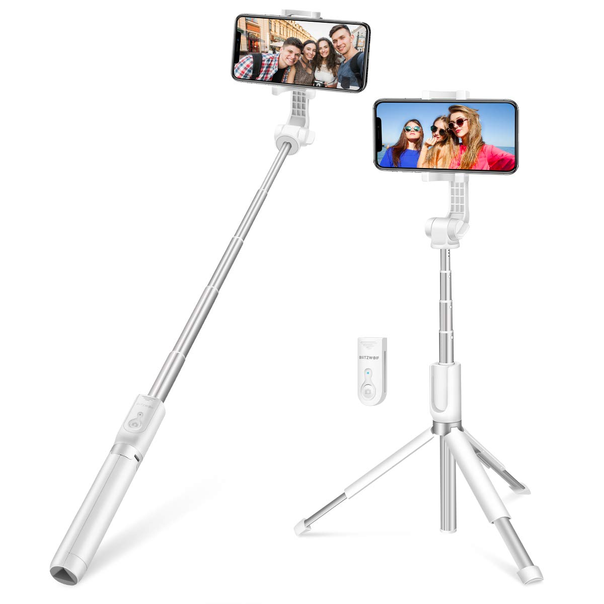 Android Phones BlitzWolf 3 in 1 Mini Extendable Aluminum bluetooth Selfie Stick Tripod with Wireless Remote and 3 Level Fill Light for iPhone XS MAX XR X 8 8 Plus 7 7 Plus 6 6S Cameras Selfie Stick