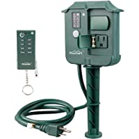 Plusmart Outdoor Power Stake Timer Weatherproof with Photocell Light Sensor, Wireless Remote Control, 3 Waterproof Outlets with Cover for Yard, Garden, 6ft Cord, UL listed