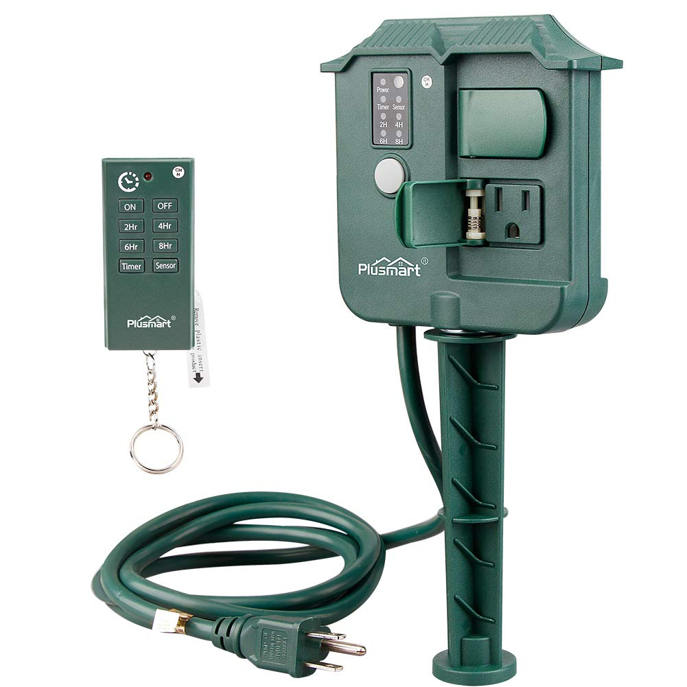 Plusmart Outdoor Yard Stake Timer Weatherproof with Photocell Light Sensor and 100 Feet Remote Control, 6ft Extension Cord with Switch, 3 Waterproof Grounded Outlets with Cover, UL Listed