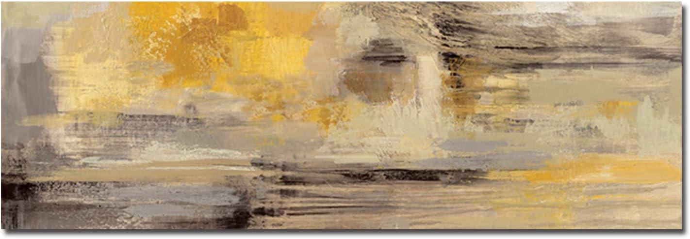 Fajerminart Cuadro En Lienzo - Amarillo Gris Cuadros Abstractos Impresiones sobre Lienzo, Lienzos Decorativos Adecuado para Cuadros Dormitorios, Cuadros Decoracion Salon Modernos 60x180cm(Sin Marco)