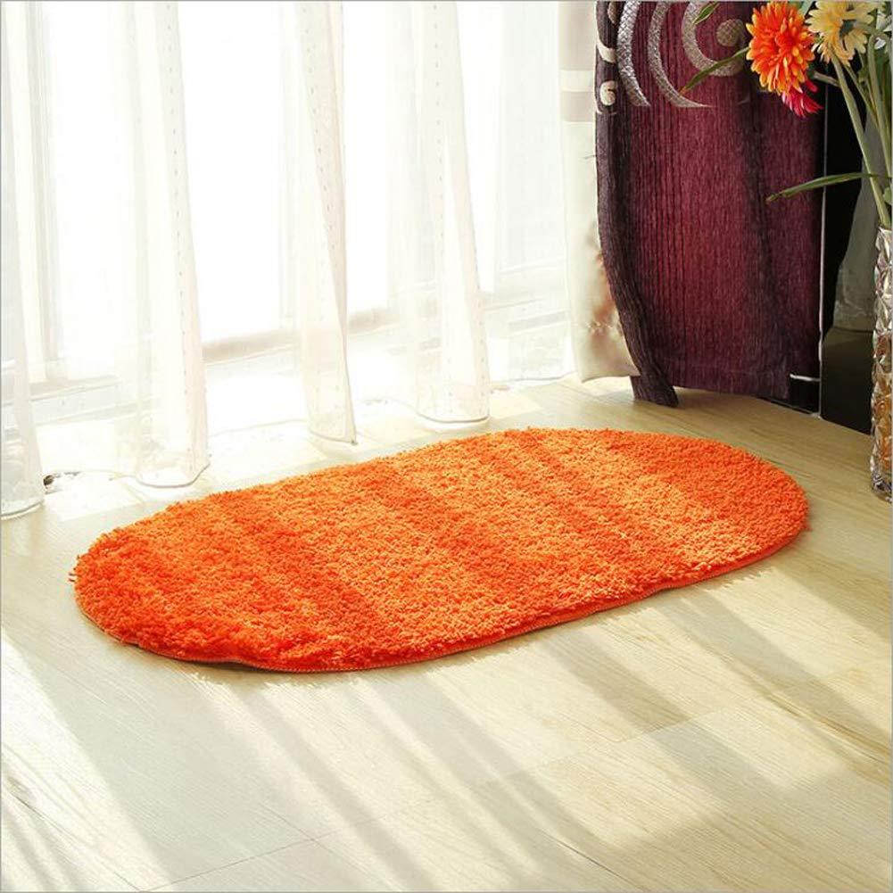80Cm Jayea Badezimmer Teppich Bad Hause Anti-Rutsch-Matte Einfarbig Oval Teppich Gr/ün Saugf/ähigen Matte 14 Farbe Optional,Yellow,50