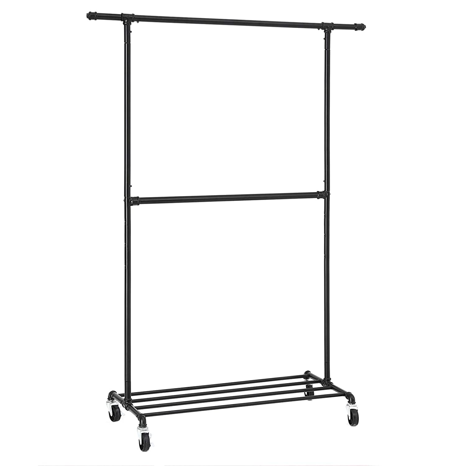 SONGMICS Industrial Style Clothes Garment Rack on Wheels, Double Hanging Rod Metal Clothing Rack, Heavy Duty Commercial Display, Black UHSR62BK