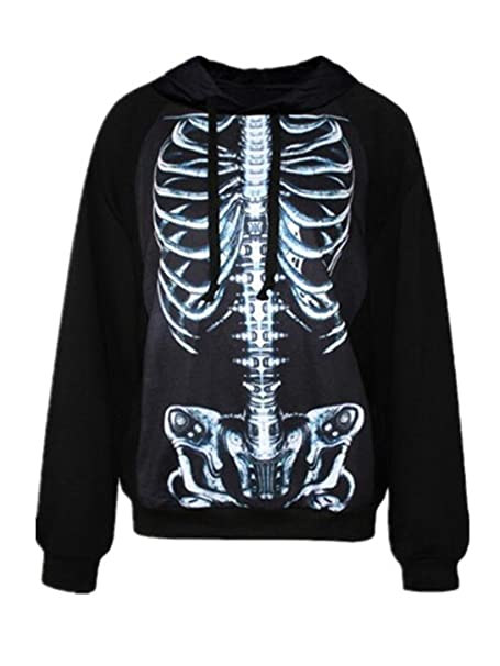 Haililais Universidad Suelto Sudadera con Capucha Manga Larga Personalizadas Jersey Hoodie Guays Esqueleto Pulóver Estampada Casual Deporte Algodón para ...