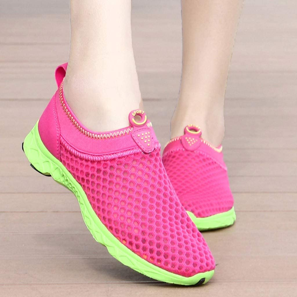 Moonker Womens Slip On Arch Support Sneaker Wide Width Walking Shoes Ladies Girls Hollow Mesh Breathable Casual Shoes