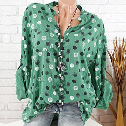 Top t 8 Haut Verte Chic Pois Imprim Guesspower XXXXXL Longues de Loisir Taille Lache Sexy Arme pour S Grand Shirt Tee Blouse Manches T Chemise Shirt Couleur Femme Femme gv66Rf8xn